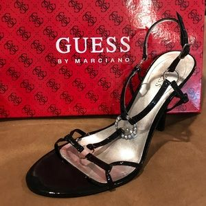 Guess black patent heels